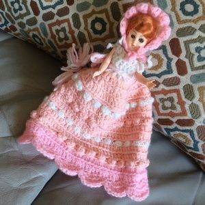 Blinking Baby Eyes Vintage Doll hand knit crochet